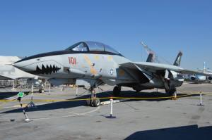 F-14 Tomcat parked on the flight deck of USS Hornet