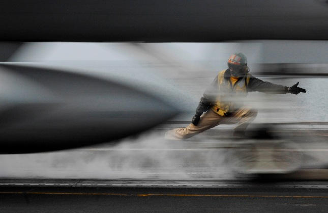 Persian Gulf (January 10, 2008) An F/A-18 Hornet launches off the flight deck of the Nimitz-class aircraft carrier USS Harry S. Truman (CVN 75). Image courtesy of US Navy