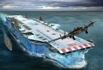 An Aircraft Carrier made from ice